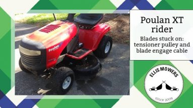 Poulan XT (Craftsman) riding mower blades stuck on: Tensioner pulley assembly and blade engage cable