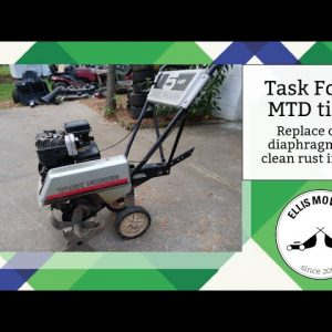 Task Force tiller 5hp Briggs flathead diaphragm replacement and cleaning rust in tank