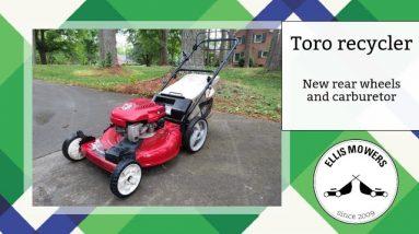 Toro Recycler self propel push mower replace rear wheels and Tecumseh carburetor