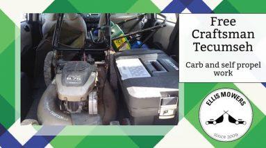 Free Craftsman Tecumseh push mower missing self propel parts and a misbehaving carburetor
