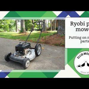 Putting missing parts onto a Ryobi push mower