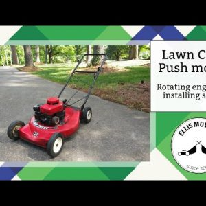 Lawn Chief push mower turning engine 180 degrees and installing recoil cover