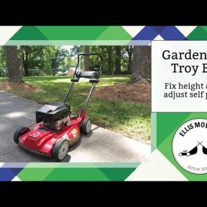Gardenway Troy Bilt push mower with stripped height adjustment and adjusting self propel cables