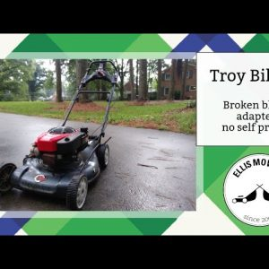 Troy Bilt XP push mower hard to pull engine (broken 25mm blade adapter) and fixing the self propel